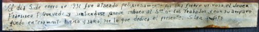"inscription Ex-voto; ""Gratitude For Health After Dangerous Illness"" dated January 5, 1931 by anonymous Mexican artist oil paint on tin with ink 7.5"" x 10"" $525 #11763"