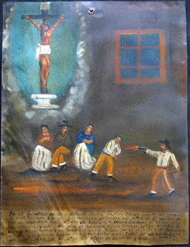 "Ex-voto; ""Gratitude For Health After Dangerous Illness"" dated January 5, 1931 by anonymous Mexican artist oil paint on tin with ink 7.5"" x 10"" $525 #11763"
