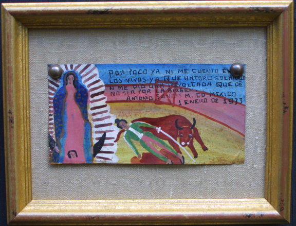 "horizontal Ex-voto:  ""Gratitude After Surviving Bull Fights"" (pair of paintings)  on top dated dated January 1, 1933 and on bottom dated September 15, 1945  by anonymous Mexican artists   oil paint on tin with ink  3.75"" x 6.25"" & 6.25"" x 3.25""  mounted on linen in gold leaf frames  $900 for pair #11765"