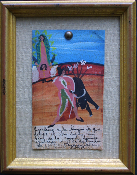"in frame vertical Ex-voto:  ""Gratitude After Surviving Bull Fights"" (pair of paintings)  on top dated dated January 1, 1933 and on bottom dated September 15, 1945  by anonymous Mexican artists   oil paint on tin with ink  3.75"" x 6.25"" & 6.25"" x 3.25""  mounted on linen in gold leaf frames  $900 for pair #11765"