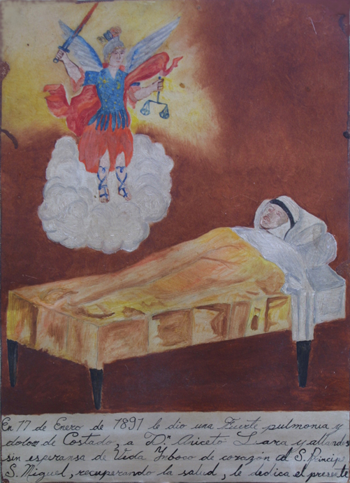"Ex-voto: ""Gratitude To St. Migel For Healing from Pneumonia"" dated January 17, 1897 by anonymous Mexican artist 11"" x 8"" mounted on linen in gold leaf frame $ 1200 #11767"