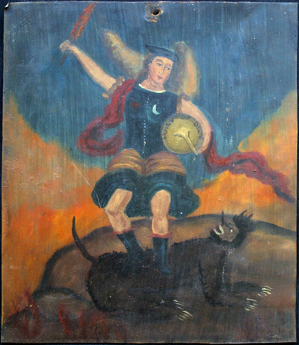 "Retablo: ""St. Michael Slaying the Dragon"" by anonymous Mexican artist oil paint on tin 12.75"" x 11"" $1000 #11770"