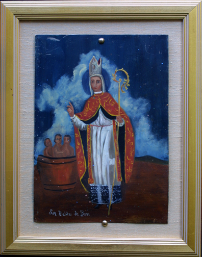 "in frame Retablo: ""St Nicolas"" by anonymous Mexican artist oil paint on tin 1275"" x 11"" $1000 #11770"