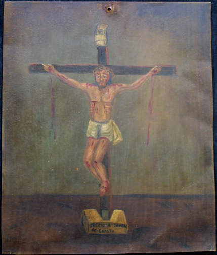 "Retablo: ""Precious Blood of Jesus"" by anonymous Mexican artist  oil paint on tin  13.5"" x 10.5""   $600  #11772"