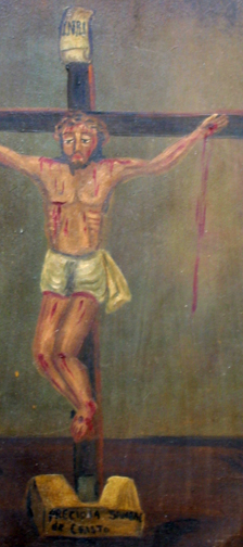 "detail Retablo: ""Precious Blood of Jesus"" by anonymous Mexican artist  oil paint on tin  13.5"" x 10.5""   $600  #11772"