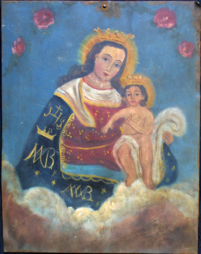 "Retablo: Virgin with Baby Jesus""  by anonymous Mexican artist  oil paint on tin  12"" x 10""  $600  #11772"