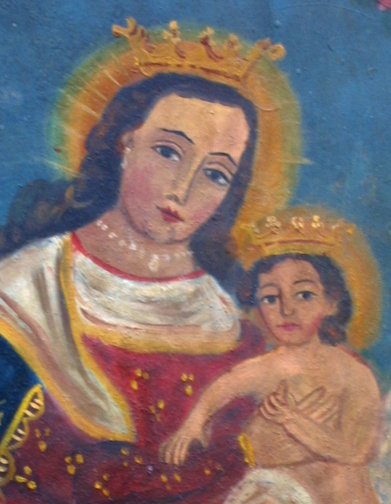 "detail Retablo: Virgin with Baby Jesus""  by anonymous Mexican artist  oil paint on tin  12"" x 10""  $600  #11772"