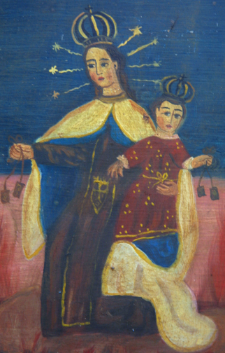 "detail Retablo: ""Virgin and Child with Six in Hell""  by anonymous Mexican artist  oil paint on tin  14"" x 11.5""   $700  #11774"