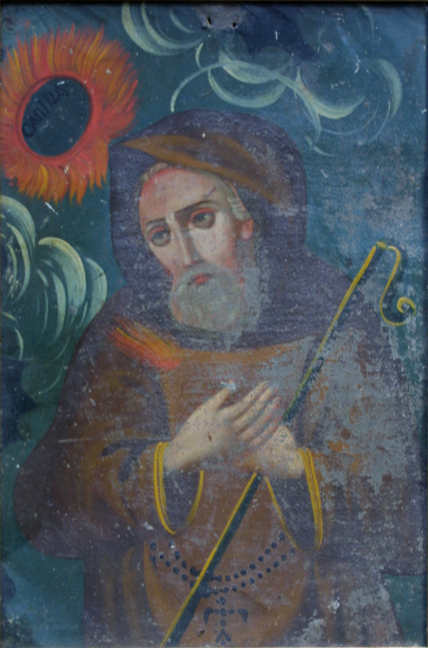 "Retablo: ""St. Francis with Staff and Sunflowers"" by anonymous Mexican artist oil paint on tin in gold leaf frame 16.5"" x 12"" $700 #11775"