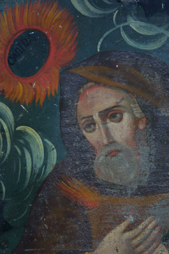 "detail detail Retablo: ""St. Canira with Sunflowers"" by anonymous Mexican artist oil paint on tin in gold leaf frame 16.5"" x 12"" $700 #11775"