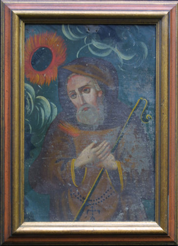 "in frame detail Retablo: ""St. Canira with Sunflowers"" by anonymous Mexican artist oil paint on tin in gold leaf frame 16.5"" x 12"" $700 #11775"