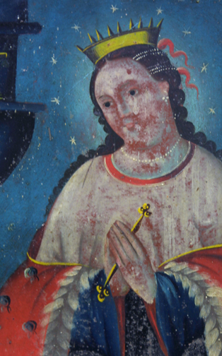 "detail Retablo: ""Virgin In Crown and Stars"" by anonymous Mexican artist oil paint on tin in gold leaf frame 16.5"" x 12.75"" $1200 #11776"