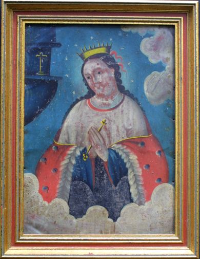 "in frame Retablo: ""Virgin In Crown and Stars"" by anonymous Mexican artist oil paint on tin in gold leaf frame 16.5"" x 12.75"" $1200 #11776"