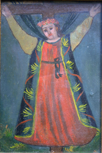 "Retablo: ""Saint on Cross""  early 1900s by anonymous Mexican artist  oil paint on tin  10.5"" x 7.5""  $600  #11777"