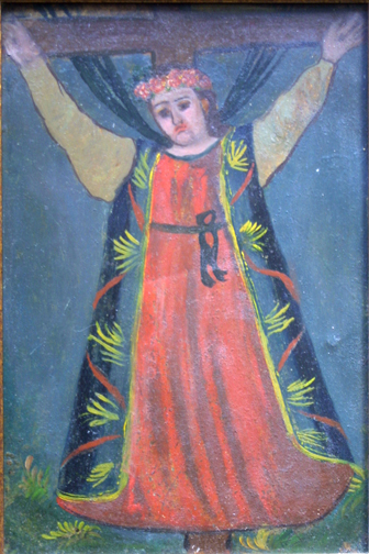 "detail Retablo: ""Saint on Cross""  early 1900s by anonymous Mexican artist  oil paint on tin  10.5"" x 7.5""  $600  #11777"