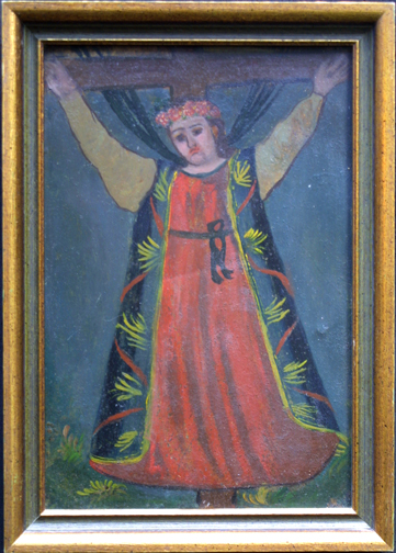 "in frame Retablo: ""Saint on Cross""  early 1900s by anonymous Mexican artist  oil paint on tin  10.5"" x 7.5""  $600  #11777"