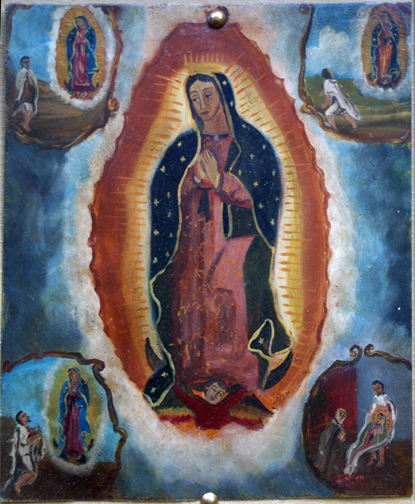 "Retablo: ""Miracle of the Cloak -Virgin of Guadalupe Appearing to Juan Diego"" late 1800s by anonymous Mexican artist oil paint on tin 12.5"" x 10"" in gold leaf frame $1200 #11779"