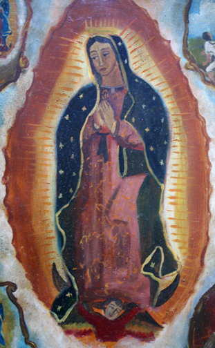 "detail Retablo: ""Miracle of the Cloak -Virgin of Guadalupe Appearing to Juan Diego"" late 1800s by anonymous Mexican artist oil paint on tin 12.5"" x 10"" in gold leaf frame $1200 #11779"