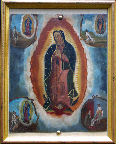 "in frame Retablo: ""Miracle of the Cloak -Virgin of Guadalupe Appearing to Juan Diego"" late 1800s by anonymous Mexican artist oil paint on tin 12.5"" x 10"" in gold leaf frame $1200 #11779"