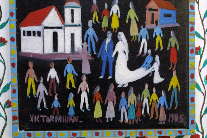 "detail Untitled (Wedding scene) dated 1985 by Victor Millan acrylic on canvas & wood 17.5"" x 15.5"" $2000 #11335"