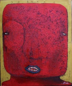 """""""Trenaco""""  by Michael Banks  mixed media on wood  48"""" x 40.5"""" in black deep shadowbox frame  $3600  #9014"""