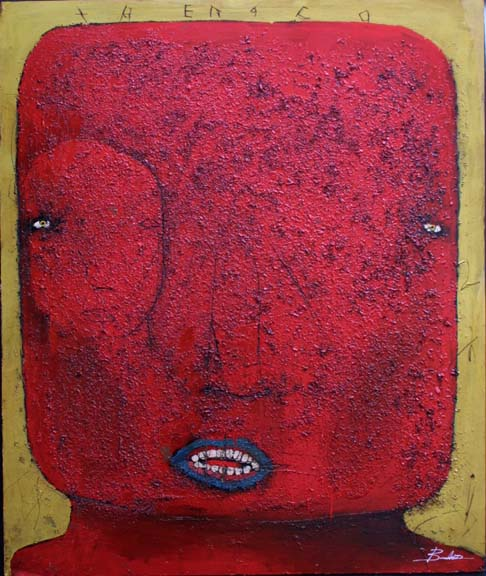 """Trenaco"" by Michael Banks mixed media on wood 48"" x 40.5"" in black deep shadowbox frame $3600 #9014"