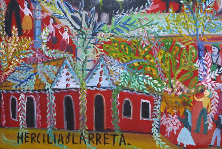 "detail ""La Muncca"" dated 1984  by Hercillia Ilarreta acrylic on canvas  31.75"" x 27.5""  $5000  #11327"