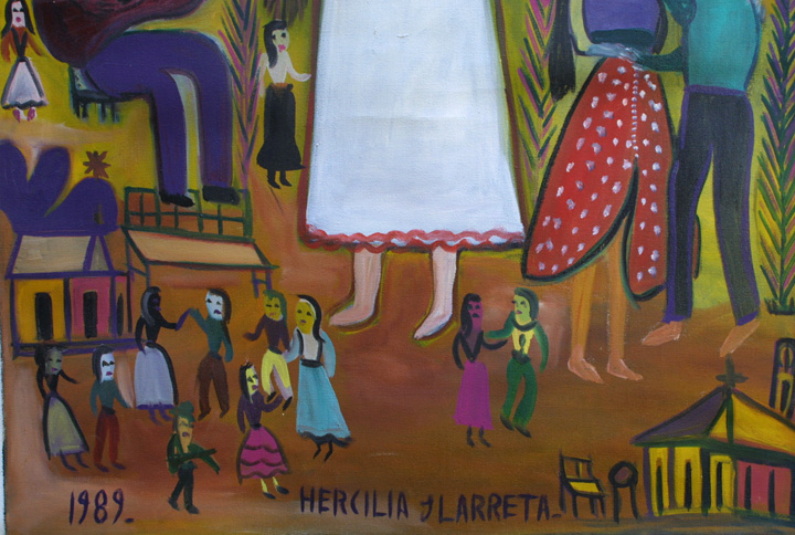 "detail ""La Gitana"" dated 1989  by Hercillia Ilarreta acrylic on unstretched canvas  29"" x 40.5""  $5000  #11328"