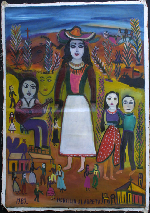 "unstretched state ""La Gitana"" dated 1989  by Hercillia Ilarreta acrylic on unstretched canvas  29"" x 40.5""  $5000  #11328"