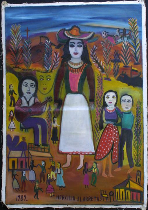 "unstretched state ""La Gitana"" dated 1989  by Hercillia Ilarreta acrylic on unstretched canvas  29"" x 40.5""  $5000  #11328"
