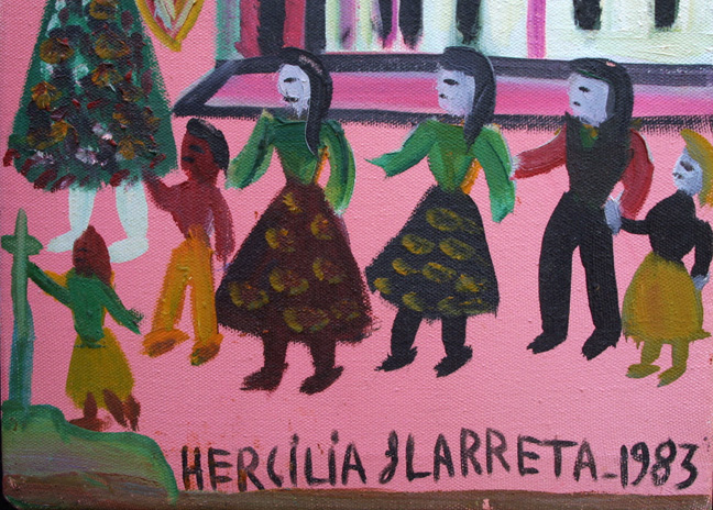"detail ""La Escuelita"" dated 1983 by Hercilia Ilarreta acrylic on canvas unframed 10.5"" x 14"" $950 #11337"