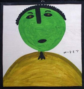 """George Washington""     c. 1998   by Mose Tolliver  house paint on wood 18"" x 17""  $900  #11370"