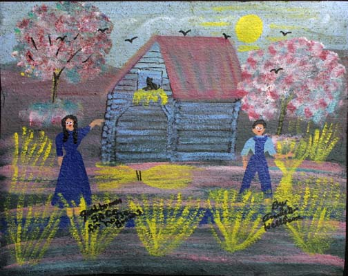 """""""Good Broom Sage"""" (for House Brooms) by Annie Wellborn acrylic on tar paper 17.5"""" x 22"""" $350 unframed #11372"""
