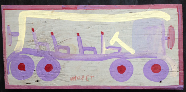 """""""Freedom Bus"""" c. 1982  by Mose Tolliver  12"""" x 25.25""""  house paint on wood, $2500   #11406"""