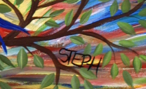 "detail sig ""Parrot"" by Steph acrylic on canvas 24' x 18"" in black frame $325 #11423"