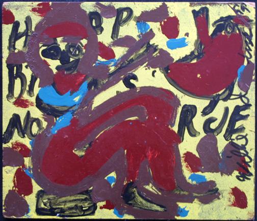 """""""Bird Lady"""" by Willie Jinks  acrylic on wood  12"""" x 14""""  $100  #11506"""