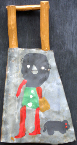 """""""Girl and Dog"""" by James """"Buddy"""" Snipes acrylic on metal with tree branch wood 11"""" x 14' $450 #11509"""