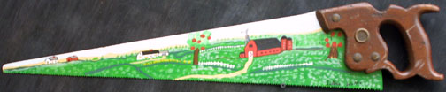 """Red Barn and Apple Tree by Lillian Willis  acrylic on metal saw with wood handle  6"""" x 30""""  $275  #11512"""