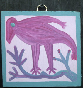 "Pico Bird on Branch c. 1979   (unsigned)  by Mose Tolliver  house paint on wood  6.25"" x 6.5""  $500  #11632"
