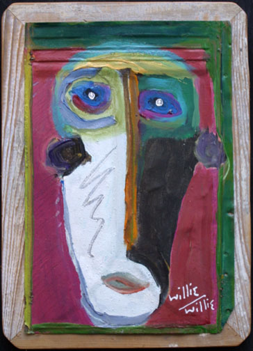 """""""Mask"""" by Willie Willie  acrylic on tin cut out mounted on wooden board  15.75"""" x 11.5"""" $275  #11642"""
