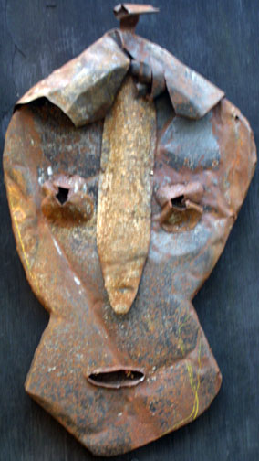 """The Saturday Friend"" by Jerry Coker  shaped found metals over wood  18.5"" x 11"" x 3""   $500  #11646"