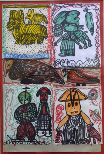 """Birds and Friends"" by Mama Johnson  marker on paper  18"" x 12.25"" unframed  $100   #11658"