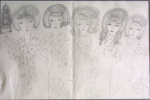 "Untitled  (Six Women) by Knox Wilkinson  pencil on paper 12"" x 17.75""  $75  #11659"