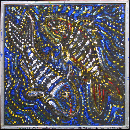 """""""Two Fish"""" by Peter Loose paint on found windowscreen  26.5"""" x 26.5""""  $350  #11686"""