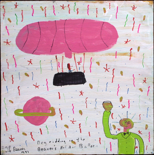 """Dog Riding in the Beaver's Hot Air Balloon""  dated '97  by The Beaver  marker, paint on wood   24"" x 24"" unframed  $150  #11687"