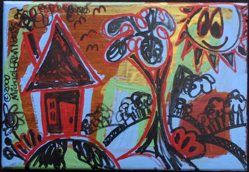 """Landscape in Black and Red"" by Michael-Brian Norris acrylic on wood 14"" x 20.75"" unframed $275 #11703"