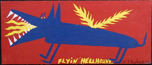"""Flyin' Hellhound""  dated 1998 by W. D. Harden  enamel on wood  10"" x 24""  $275  #11706"