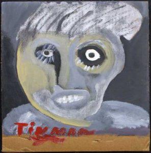 """""""Tin Man"""" by Charlie Lucas   acrylic on cardboard  11"""" x 10.75""""  unframed  $375  #11712"""