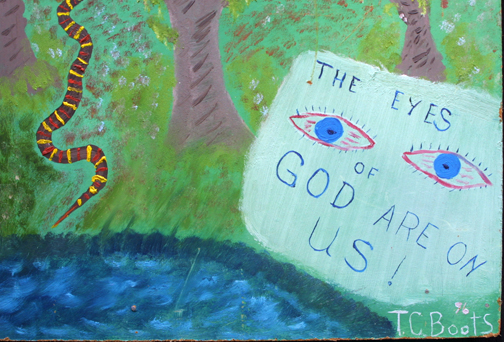 """""""The Eyes of God Are On Us""""   dated 1996  by T. C. Boots  acrylic on wood panel in artist's made black frame  24.75"""" x 24"""" x .75""""  $225  #11725"""