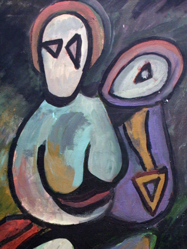 "Anonymous ""Mama Holding her Baby""   acrylic on canvas  36"" x 24""  $250  #11726"